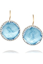 Larkspur And Hawk Olivia Button White Rhodium Plated Quartz Earrings Blue