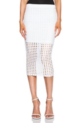 T By Alexander Wang Circular Hole Jersey Skirt In White