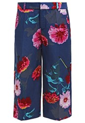 Banana Republic Trousers Silky Floral Cool Dark Blue
