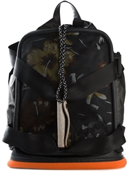 Y 3 Hibiscus Print Mesh Backpack Black