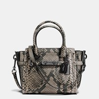Coach Swagger 21 Carryall In Snake Embossed Leather Dark Gunmetal Natural