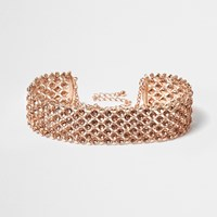 River Island Womens Rose Gold Tone Sparkly Choker
