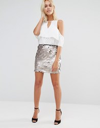 Glamorous Sequin Mini Skirt Stone Grey
