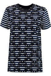 Mother Of Pearl Joshua Flocked Stretch Jersey Top Blue
