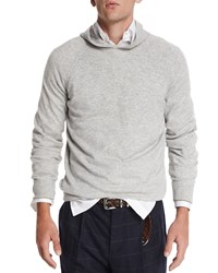 Brunello Cucinelli Cashmere Long Sleeve Hoodie Charcoal Grey