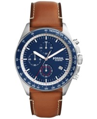 Fossil Men's Chronograph Sport 54 Light Brown Leather Strap Watch 44Mm Ch3039