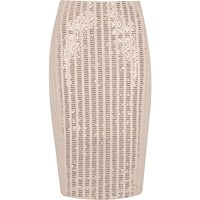 River Island Womens Light Pink Sparkly Panel Pencil Skirt