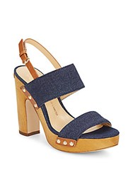 Vince Camuto Baker Denim Wood Platform Sandals Dark Blue