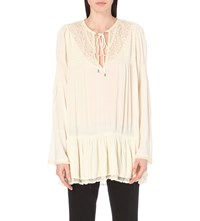 Free People Victorian Ruffle Detail Gauze Blouse Ivory