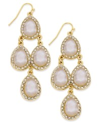 Inc International Concepts Gold Tone White Stone Teardrop Chandelier Earrings Only At Macy's