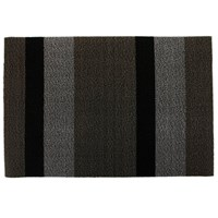 Chilewich Large Stripe Shag Rug Silver Black 61X91cm