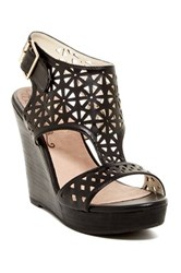 Restricted Miss Laser Cut Wedge Sandal Black