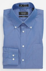 Men's Big And Tall Nordstrom Smartcare Wrinkle Free Solid Pinpoint Cotton Trim Fit Dress Shirt French Blue