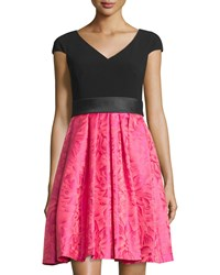 Theia Cap Sleeve Colorblocked Brocade Cocktail Dress Cerise