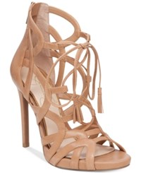 Jessica Simpson Racine Lace Up High Heel Gladiator Sandals Women's Shoes Buff