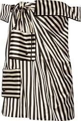 Monse Off The Shoulder Striped Duchesse Silk Satin Mini Dress Black