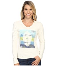 Life Is Good Optimistic Crusher Vee Long Sleeve Simply Ivory Women's Long Sleeve Pullover White