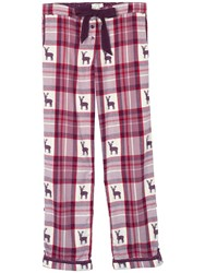 Fat Face Reindeer Jacquard Check Print Pyjama Bottoms Poinsettia