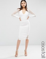 Asos Tall Lace Applique Long Sleeve Midi Dress Cream