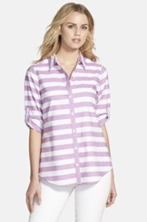 Foxcroft Stripe Oxford Cotton Shirt Regular And Petite Purple