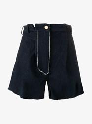 Natasha Zinko High Waisted Denim Shorts Blue Denim Red Green Black Cherry