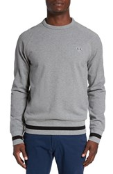 Fred Perry Men's Trim Fit Crewneck Sweater Steel Marl