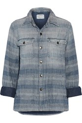 Current Elliott The Patch Pocket Striped Cotton Chambray Shirt Blue