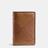 Coach Card Wallet In Patchwork Leather Dark Saddle