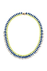 Natasha Accessories Rhinestone Ribbon Collar Necklace Blue