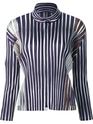 Issey Miyake Pleats Please By Zip Front Striped Top Black