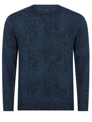 Wolsey Merino Pattern Crew Neck Pull Over Jumpers Total Eclipse