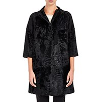 Barneys New York Women's Moire Fur Coat Black Blue Black Blue