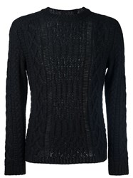 Maison Martin Margiela Open Cable Knit Jumper Black