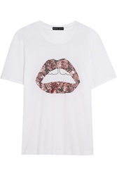 Markus Lupfer Sequin Embellished Cotton Jersey T Shirt