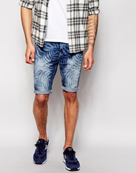 New Look Denim Shorts In Skinny Fit With Leaf Print Blue