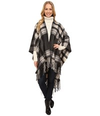 Pendleton Plaid Blanket Shawl Black Women's Sweater