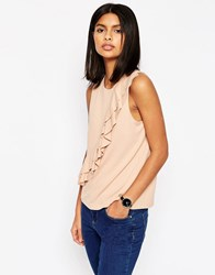 Asos Ponte Shell Top With Double Ruffle Detail Blush Black