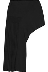Anthony Vaccarello Asymmetric Pleated Stretch Knit Mini Skirt Black