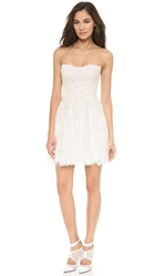 Monique Lhuillier Flirt Lace Mini Dress Silk White