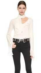 Rodarte Tie Neck Ruffle Blouse Off White