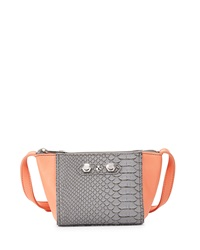 Neiman Marcus Dani Mini Colorblock Crossbody Bag Coral Gray