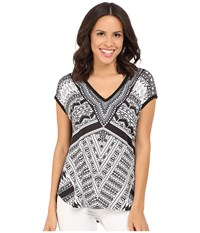 Hale Bob Bold Geometry Mixed Media Top Black White Women's Clothing