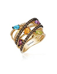 Le Vian Candy Colors Amethyst Raspberry Rhodolite Cinnamon Citrine Green Apple Peridot Swiss Blue Topaz Ring