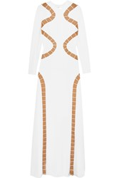 Emilio Pucci Tulle Paneled Cutout Silk Crepe Gown White