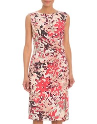 Nic Zoe Petal Showers Ruched Side Sheath Dress Pink Multi