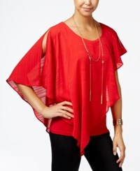 Amy Byer Bcx Juniors' Asymmetrical Popover Top Red