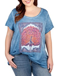 Lucky Brand Plus Plus Peacock Washed Supima Cotton Blend T Shirt Blue