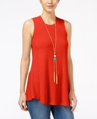 Amy Byer Bcx Juniors' Sleeveless Knit Necklace Top Orange