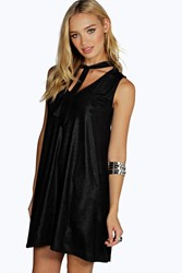 Boohoo Metallic Tie Neck Swing Dress Black