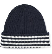 Thom Browne Striped Cashmere Beanie Midnight Blue